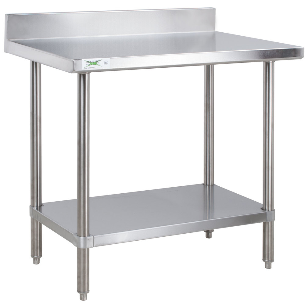 Regency 24 inch x 36 inch 16-Gauge Stainless Steel Commercial Work Table with 4 inch Backsplash and Undershelf