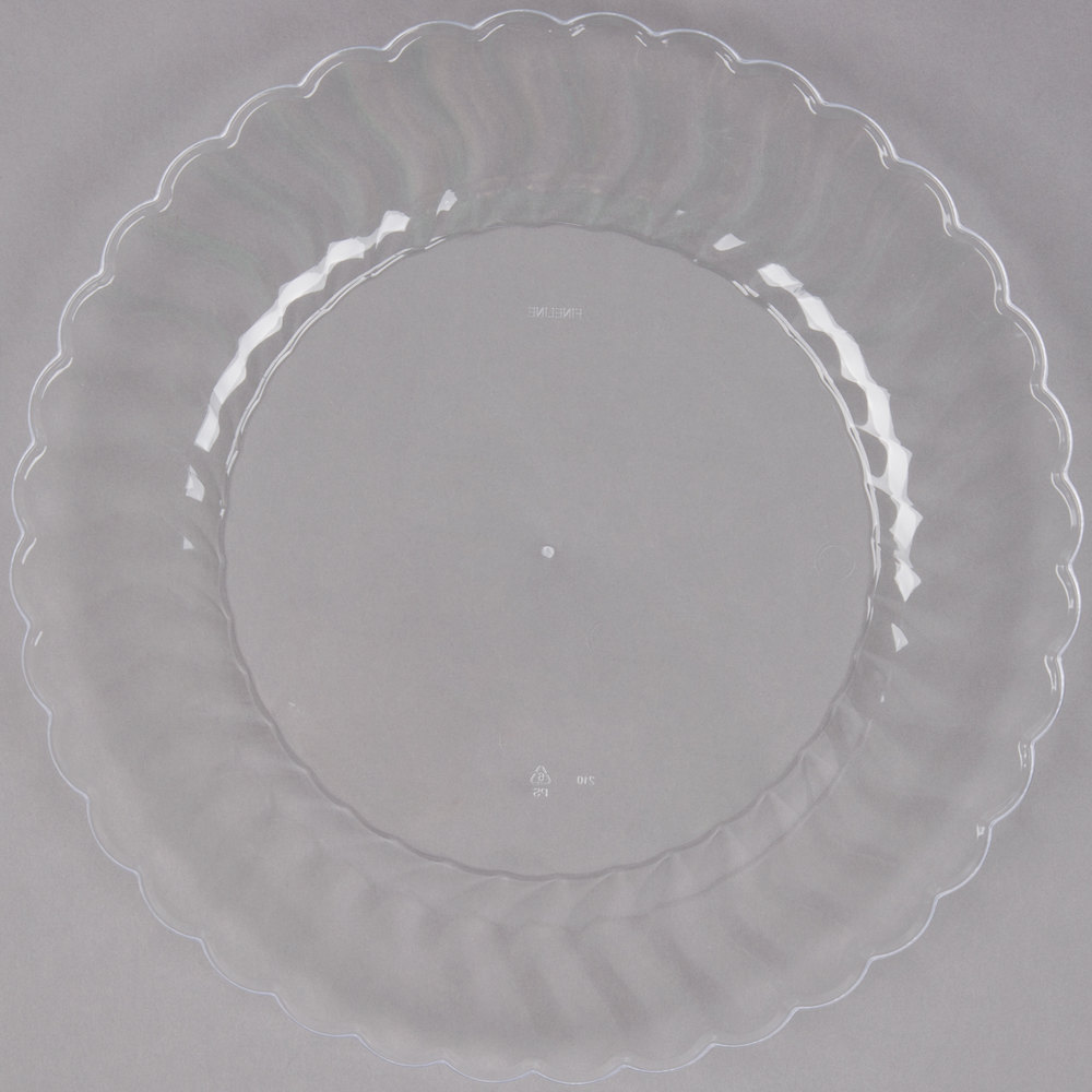 Fineline Flairware 210-CL 10 1/4 inch Clear Customizable Plastic Plate - 144 ...  sc 1 st  WebstaurantStore : clear plastic plates with gold trim - pezcame.com