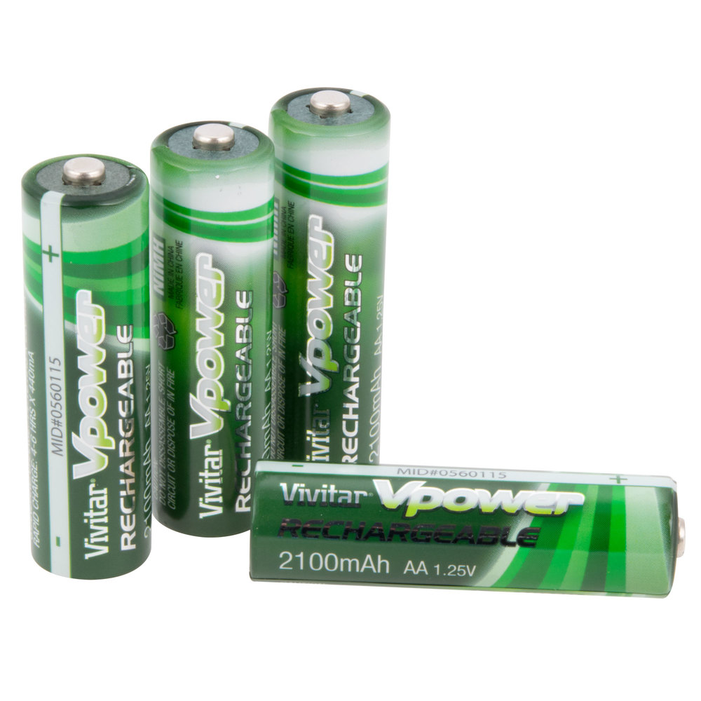 vivitar aa 2100 mah ni mh rechargeable batteries four pack. Black Bedroom Furniture Sets. Home Design Ideas