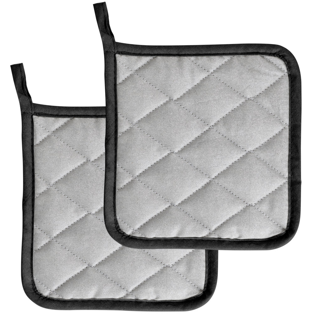 choice 7 inch square silver silicone pot holder 2pack