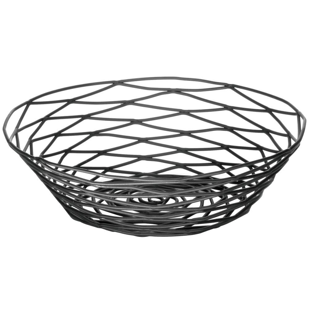 Tablecraft Bk17508 Artisan Round Black Wire Basket 8 Inch X 2