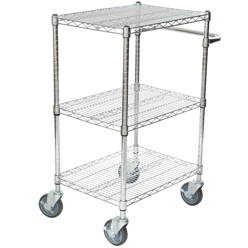 Regency 18 inch x 24 inch Three Shelf Chrome Utility Cart with U-Shaped Handle