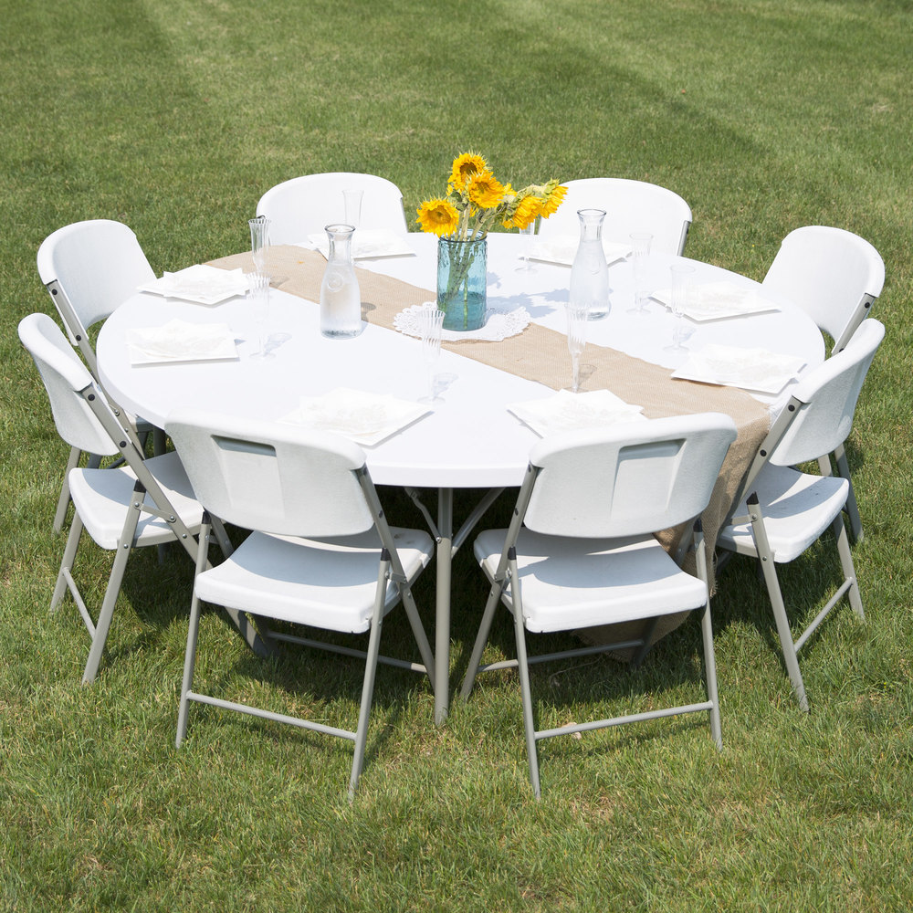 Round Folding Table 72 Heavy Duty Plastic White Granite