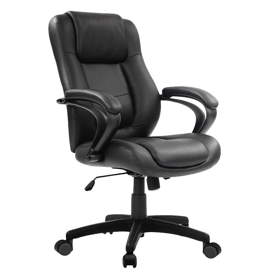 Eurotech Le522 Pembroke Black Leather Mid Back Swivel