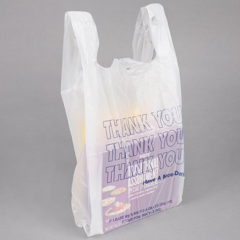 1 6 size white thank you t shirt bag 1000 case for Jumbo t shirt bags