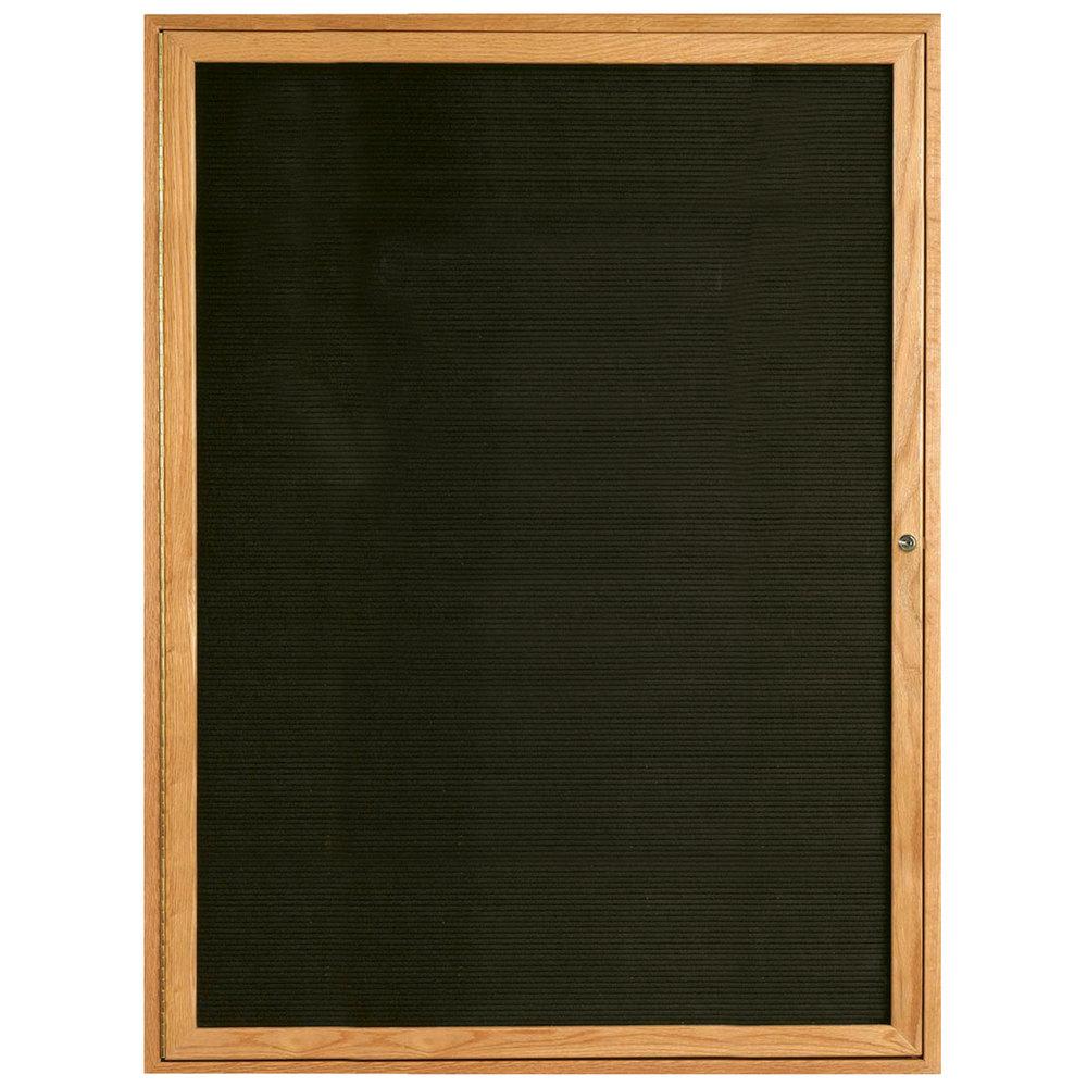aarco odc4836 48 x 36 enclosed hinged locking 1 door black felt message board with natural oak. Black Bedroom Furniture Sets. Home Design Ideas