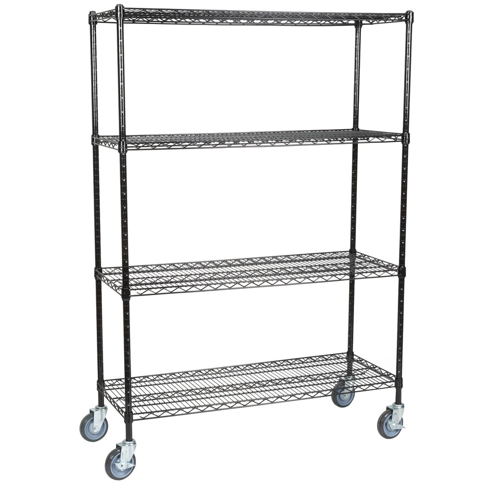 black wire four shelf shelving unit with casters