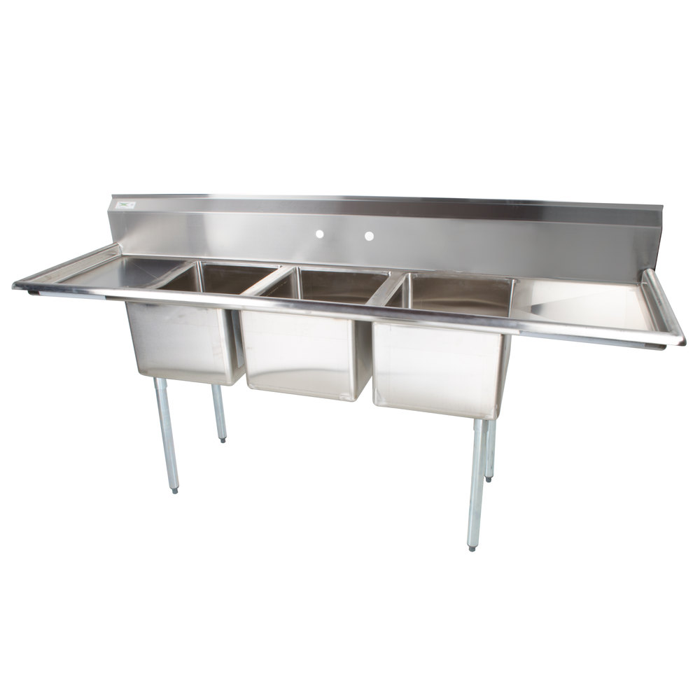 Regency 91 inch 16-Gauge Stainless Steel Three Compartment Commercial Sink with 2 Drainboards - 17 inch x 17 inch x 12 inch Bowls