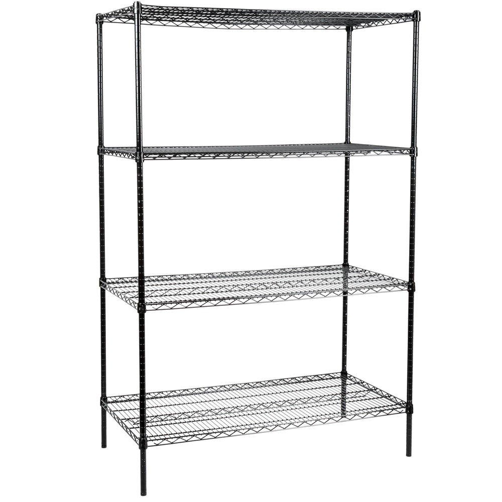 black wire four shelf shelving unit