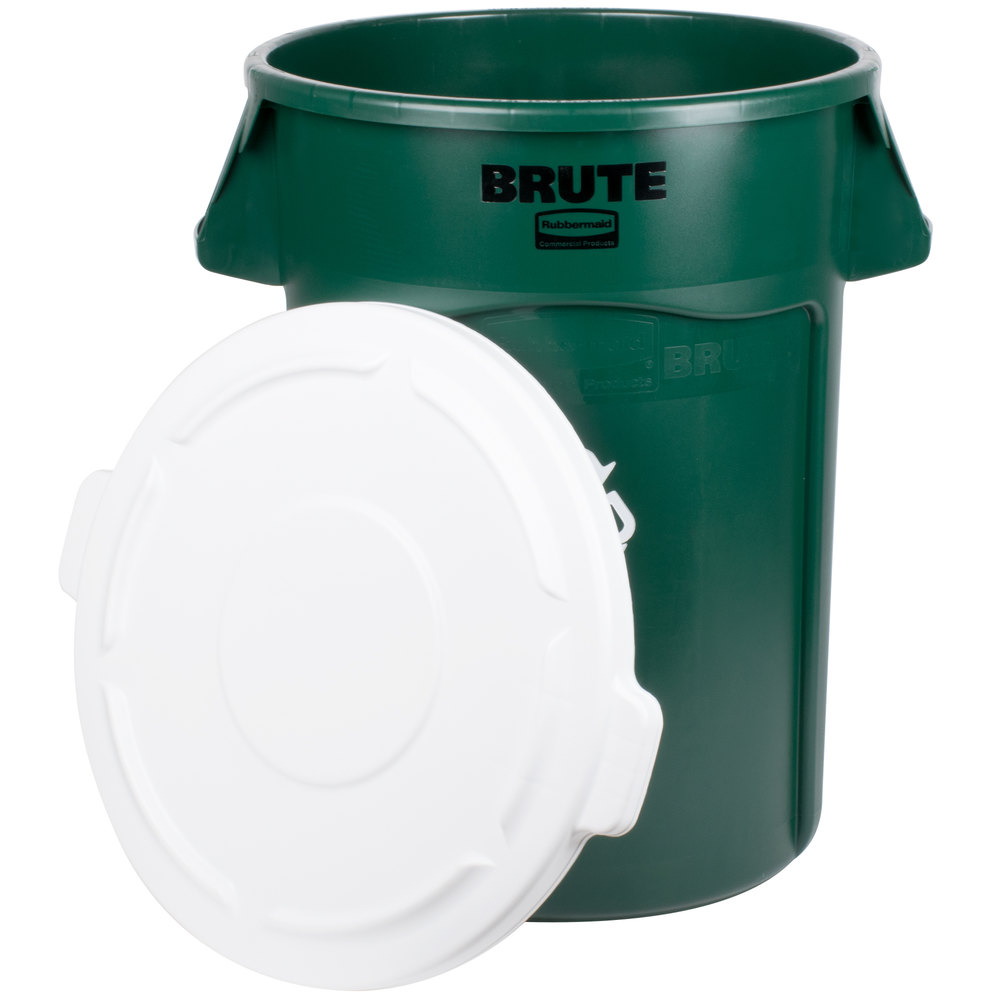 Rubbermaid Brute 44 Gallon Dark Green Recycling Can And