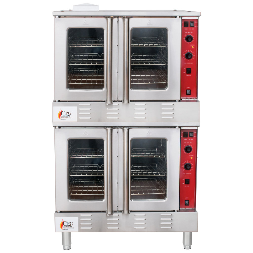 Liquid Propane Cooking Performance Group FGC200L Double Deck Full Size  Liquid Propane Convection Oven with Legs - 108,000 ...
