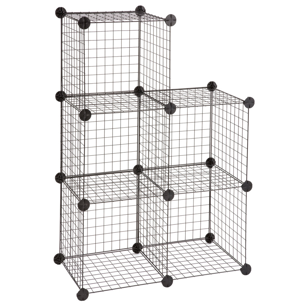 Safco 5279BL Black Wire Cube Shelving System - 5/Set