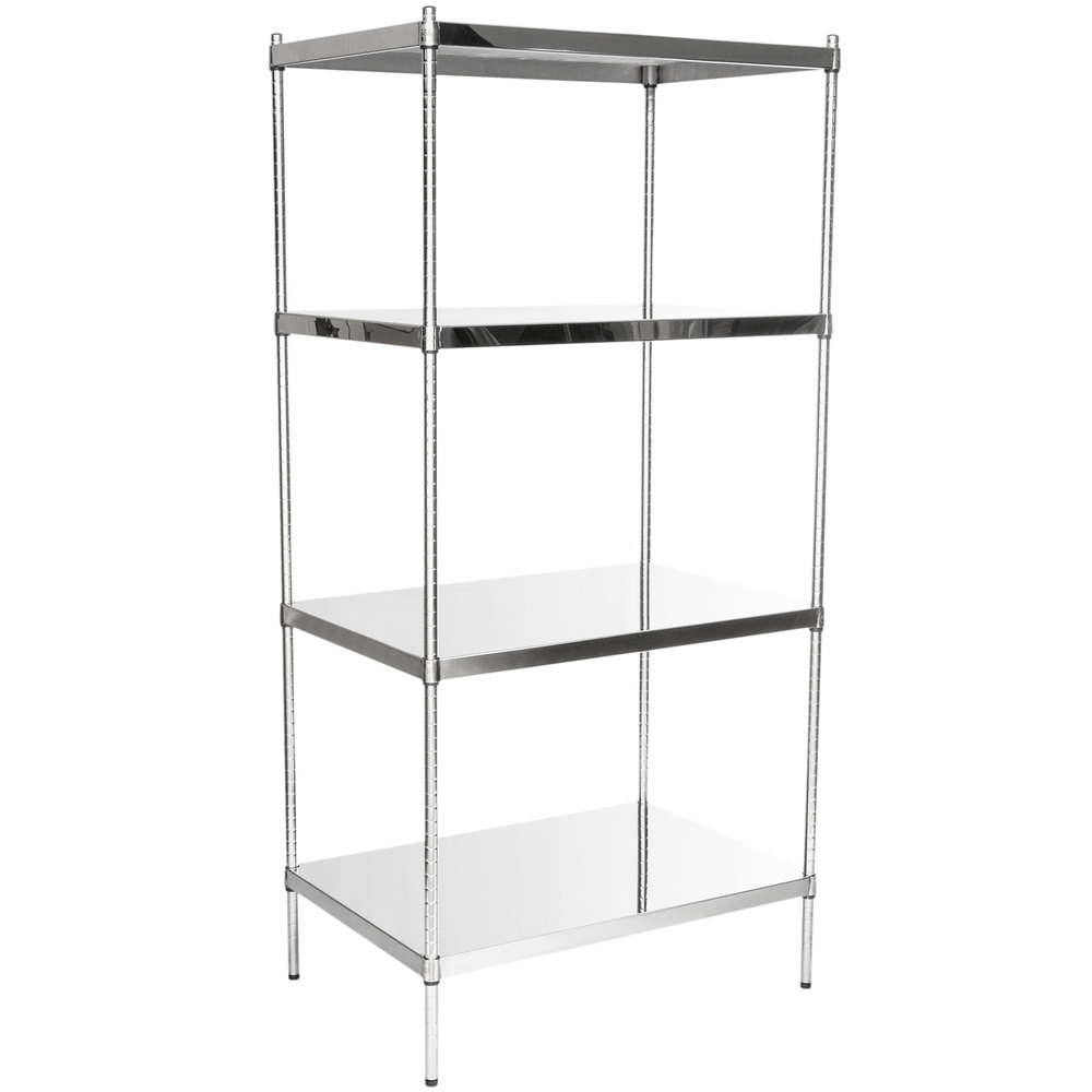 Regency 24 inch x 36 inch NSF Stainless Steel Solid 4-Shelf Kit with 74 inch Posts