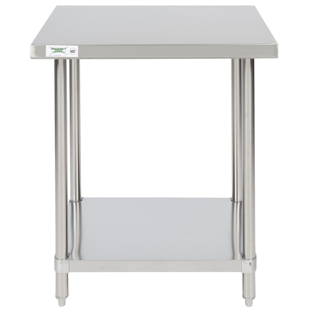 Regency 24 inch x 30 inch 16-Gauge 304 Stainless Steel Commercial Work Table with Undershelf