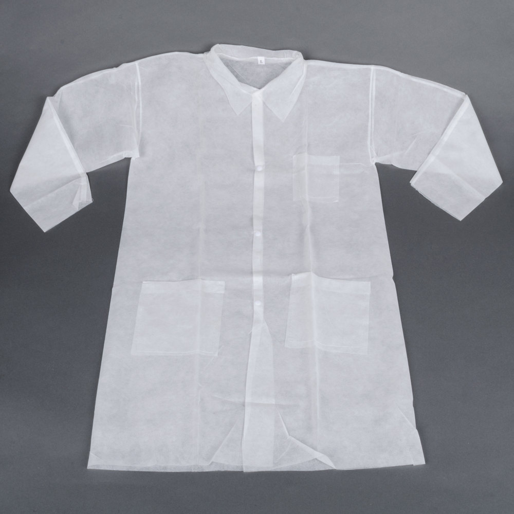 White Disposable Polypropylene Lab Coat