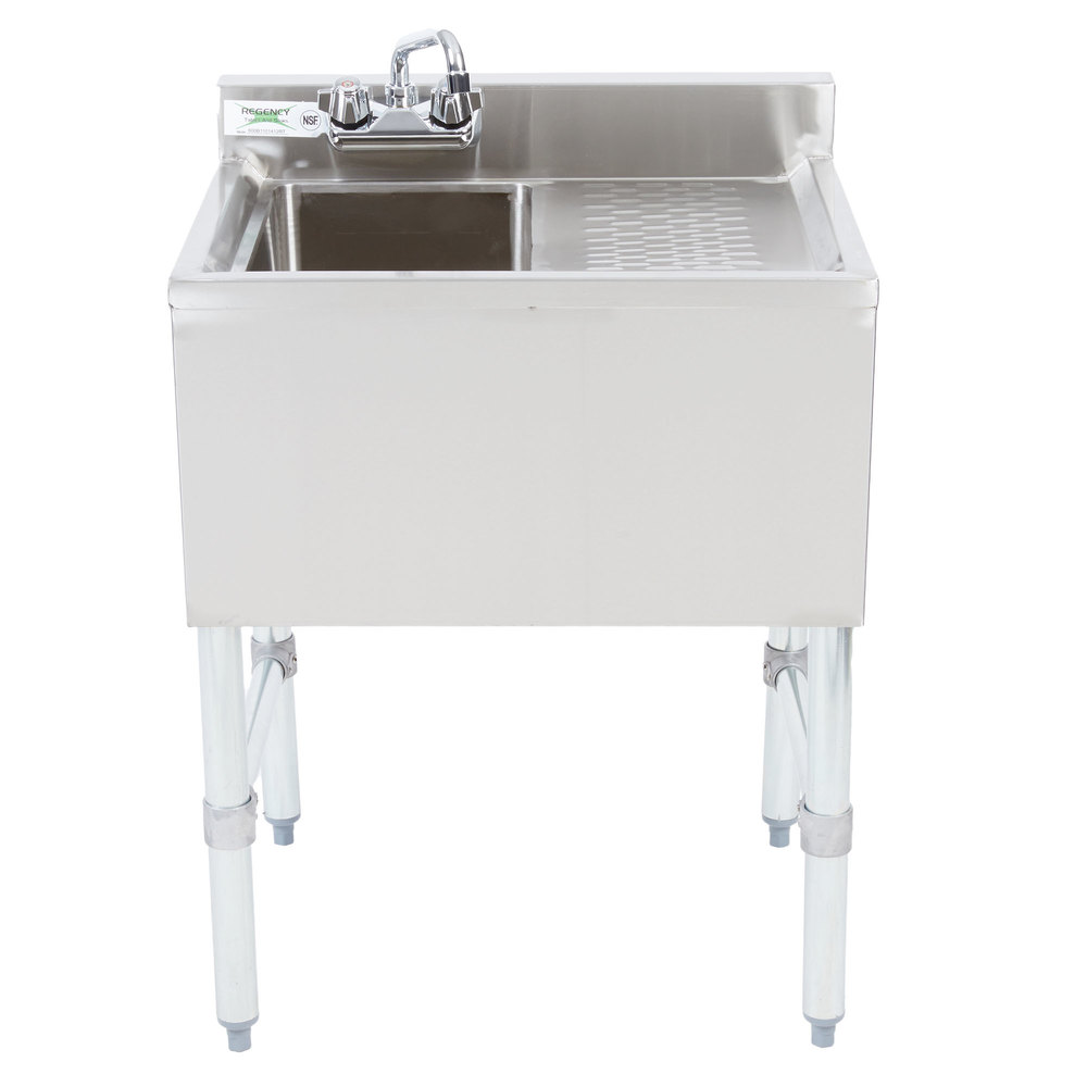 Right Drainboard Regency 1 Bowl Underbar Sink with Drainboard and Faucet - 24 inch x 18 3/4 inch