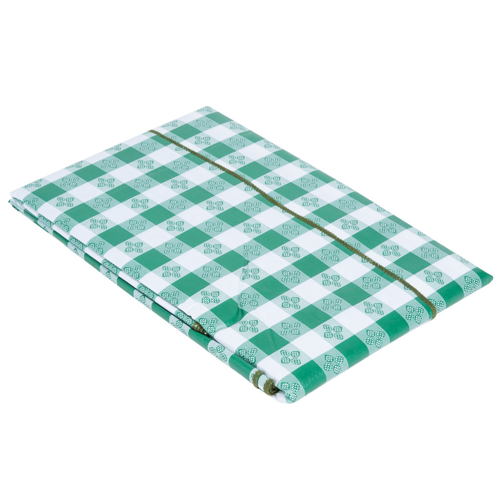 52 x 70 green gingham vinyl table cover with flannel back for Table induction 70 x 52