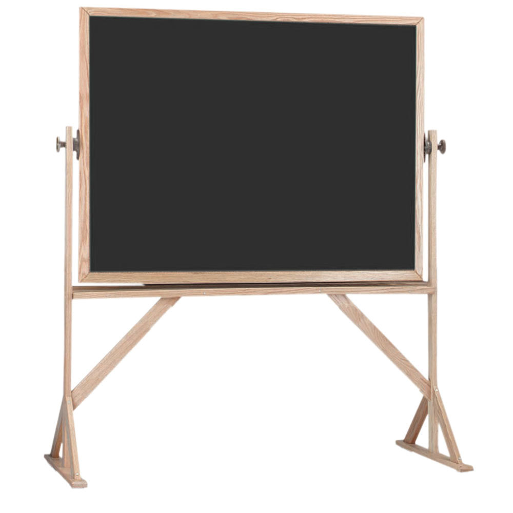 """Aarco RBC3648B 36"""" x 48"""" Reversible Free Standing Black Composition Chalkboard / Natural Cork Board with Solid Oak Wood Frame Main Image 1"""