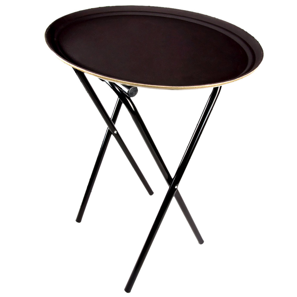 """Lancaster Table & Seating 31"""" Folding Black Metal Tray Stand"""