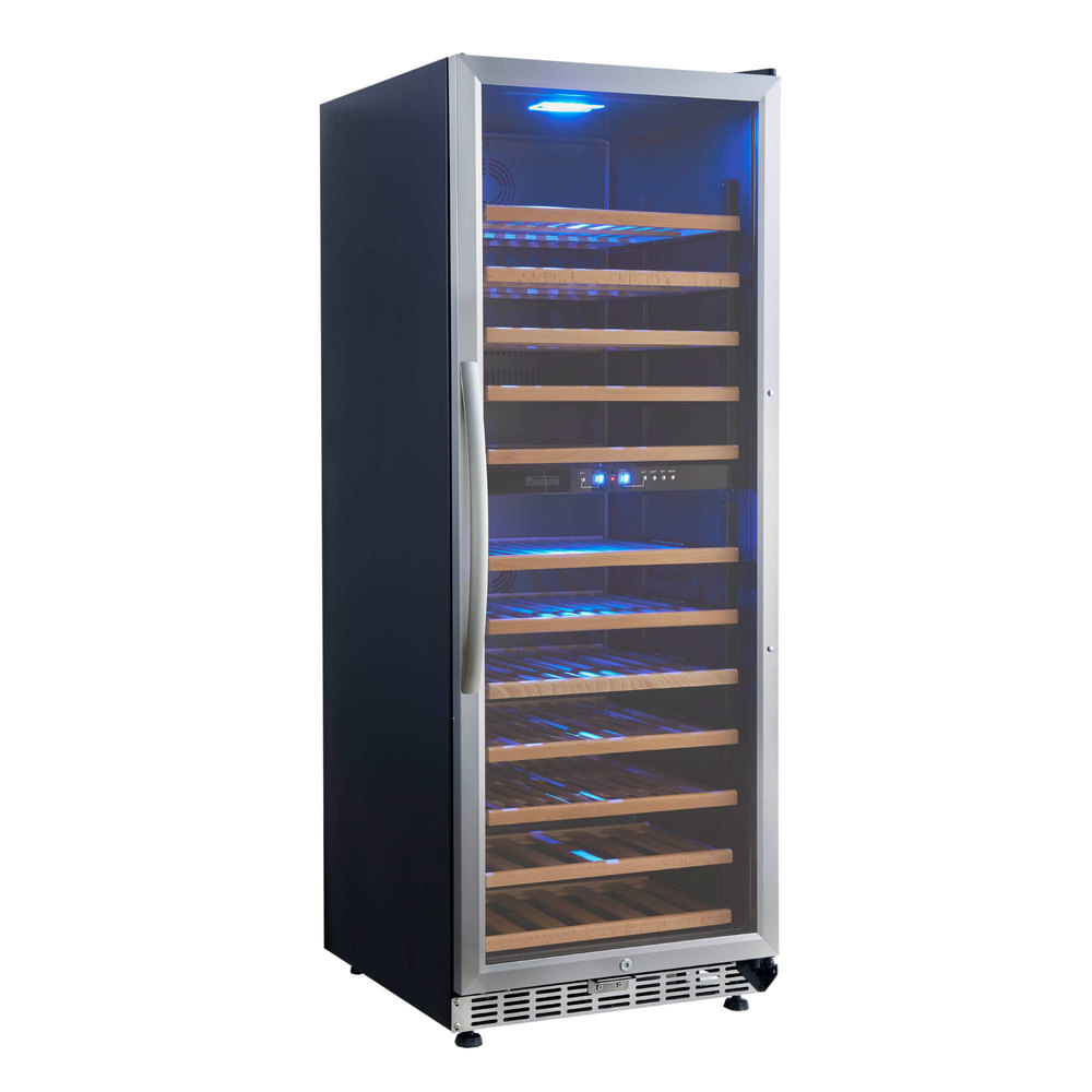 110 volts eurodib usf128d single section dual temperature full glass door wine refrigerator