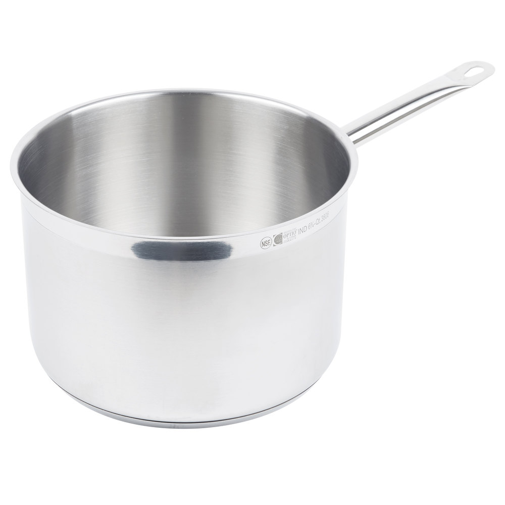 Vollrath stainless steel sauce pan on a white background