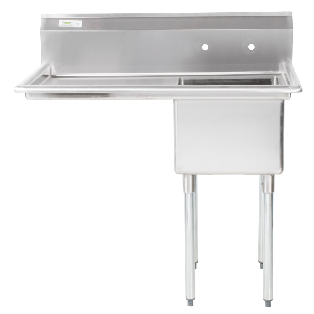 Left Drainboard Regency 44 inch 16 Gauge Stainless Steel One Compartment Commercial Sink with 1 Drainboard - 17 inch x 23 inch x 12 inch Bowl
