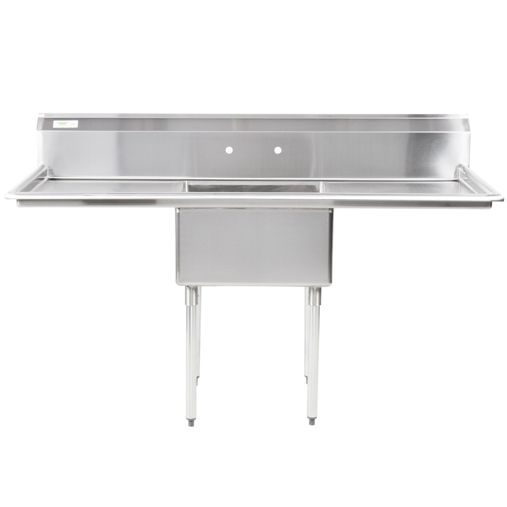 Regency 71 inch 16 Gauge Stainless Steel One Compartment Commercial Sink with 2 Drainboards - 23 inch x 23 inch x 12 inch Bowl