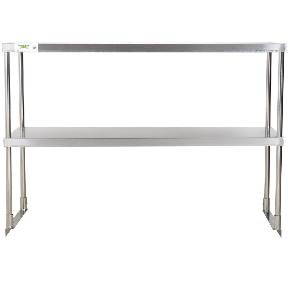 Regency Stainless Steel Double Deck Overshelf - 18 inch x 48 inch x 32 inch