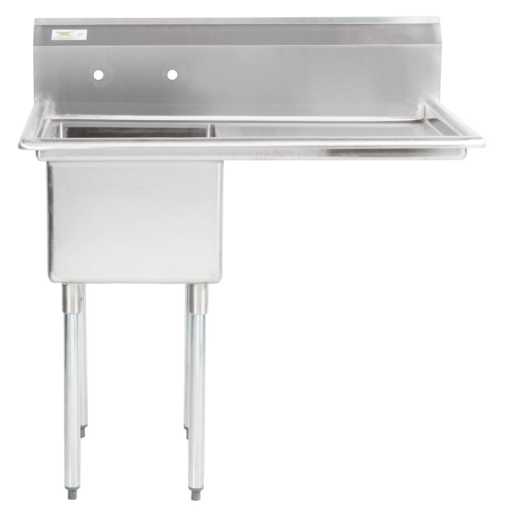 Right Drainboard Regency 44 inch 16 Gauge Stainless Steel One Compartment Commercial Sink with 1 Drainboard - 17 inch x 23 inch x 12 inch Bowl