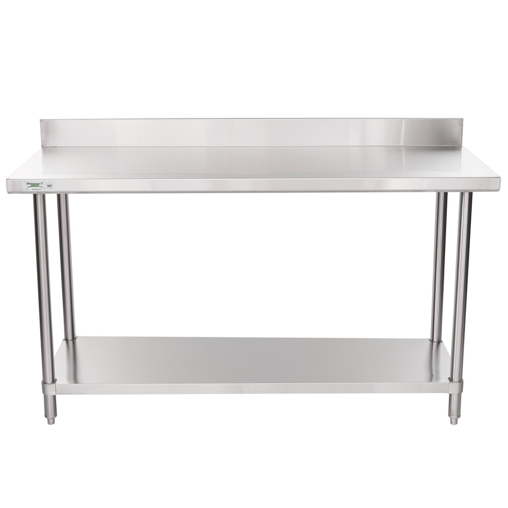 Regency 24 inch x 60 inch 16-Gauge Stainless Steel Commercial Work Table with 4 inch Backsplash and Undershelf