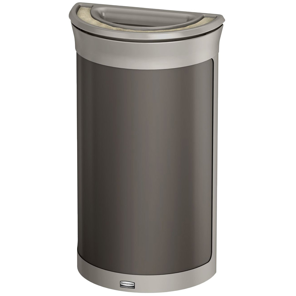 rubbermaid 1969876 enhance 7 5 gallon umbra gray half round trash can with ash tray and pearl. Black Bedroom Furniture Sets. Home Design Ideas
