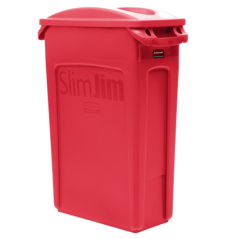 rubbermaid slim jim 23 gallon red trash can with 2 hole lid. Black Bedroom Furniture Sets. Home Design Ideas