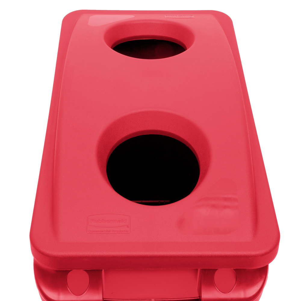 Rubbermaid Slim Jim 23 Gallon Red Trash Can With 2 Hole Lid