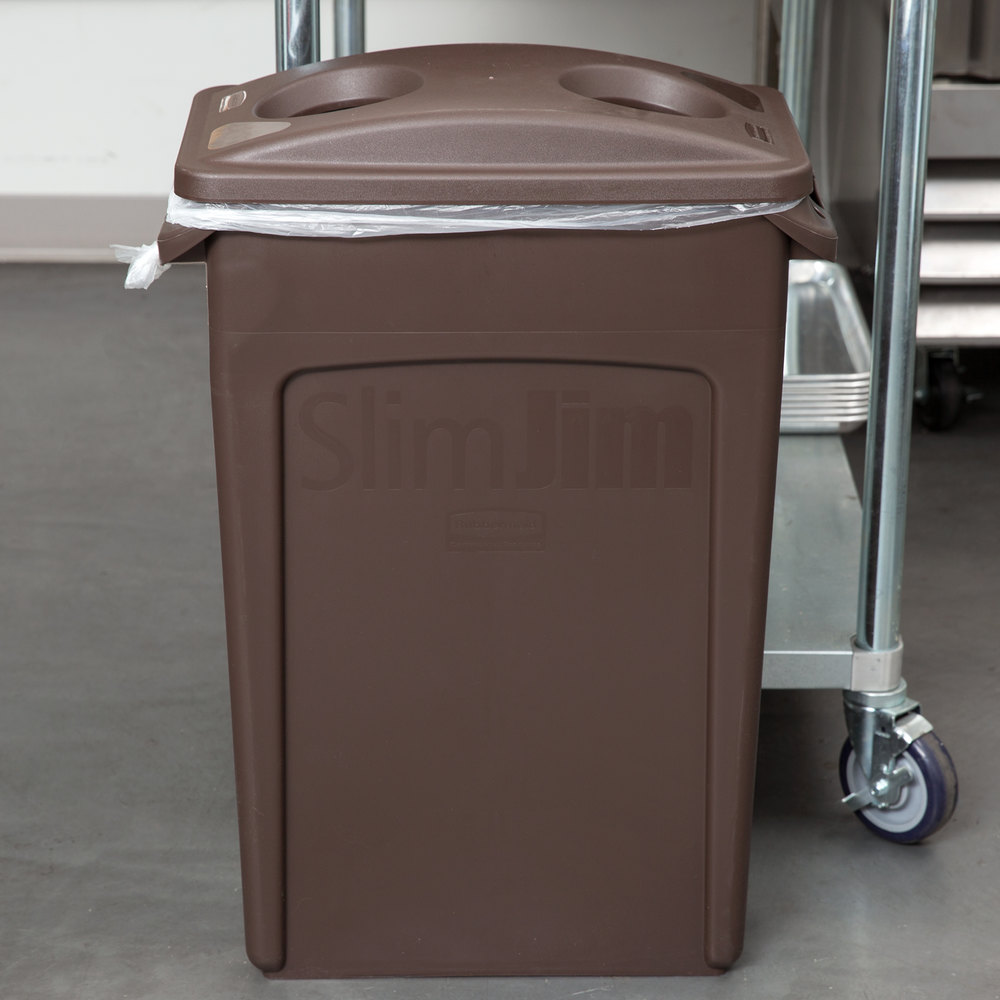 rubbermaid slim jim 23 gallon brown trash can with 2 hole lid. Black Bedroom Furniture Sets. Home Design Ideas