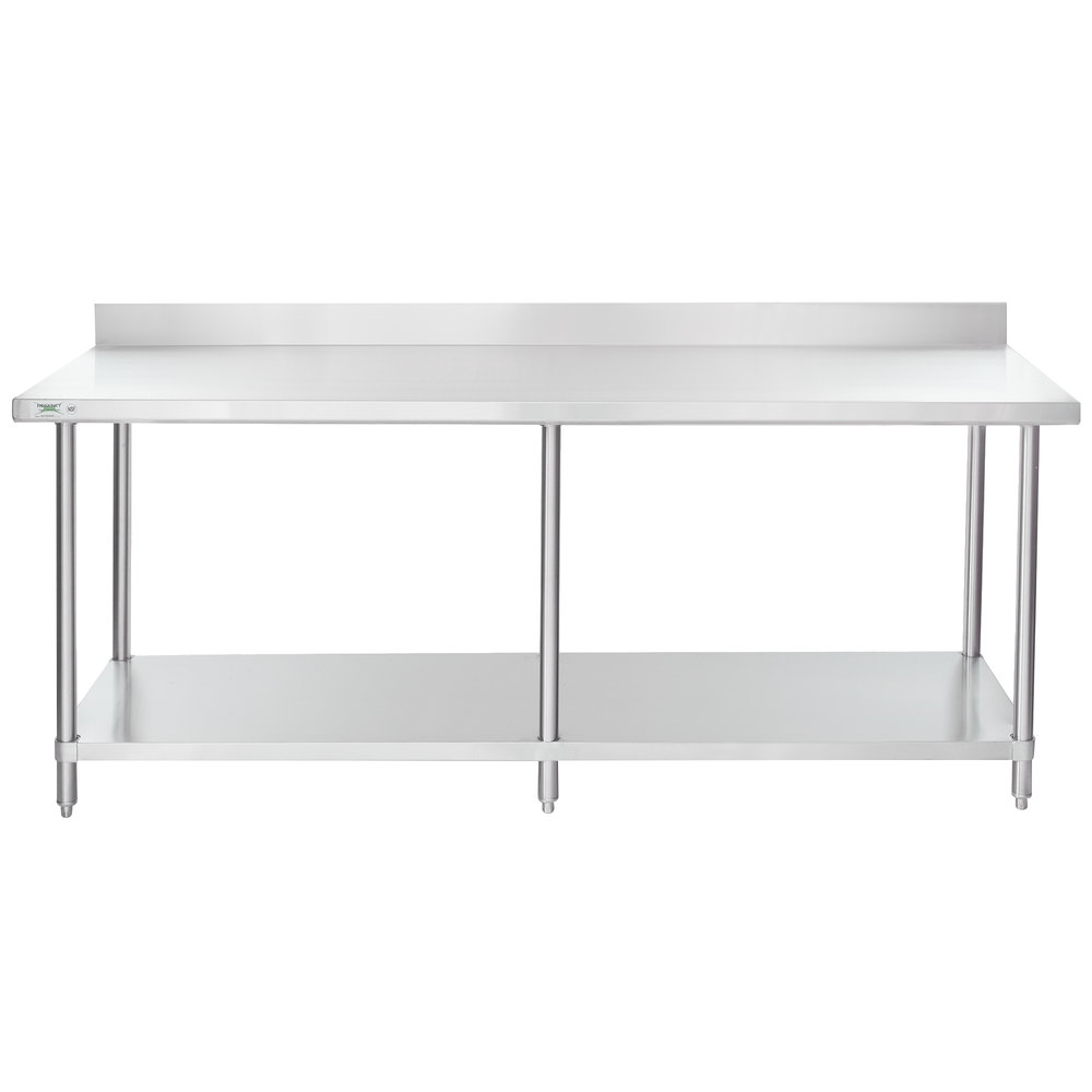 Regency 30 inch x 84 inch 16-Gauge Stainless Steel Commercial Work Table with 4 inch Backsplash and Undershelf