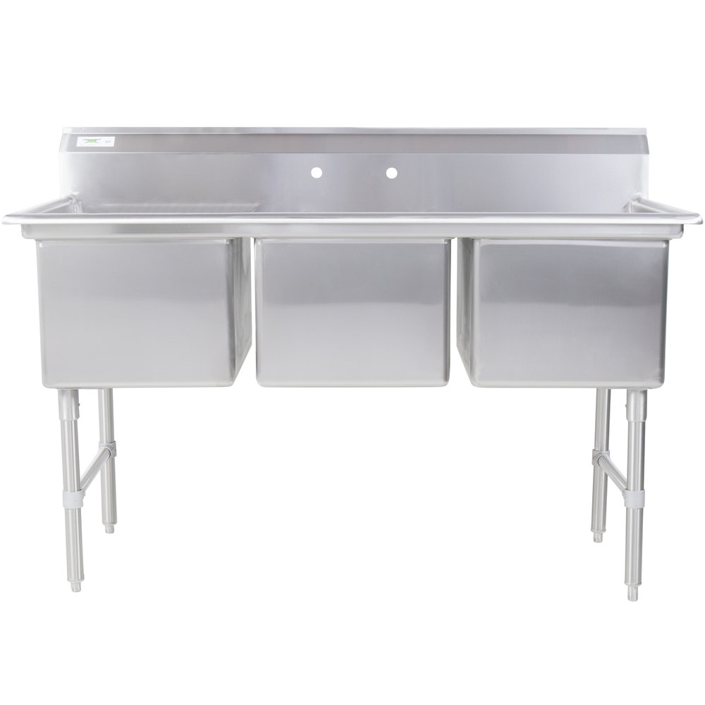 Regency 16 Gauge Stainless Steel Three Compartment Commercial Sink - 24 inch x 18 inch x 14 inch Bowls