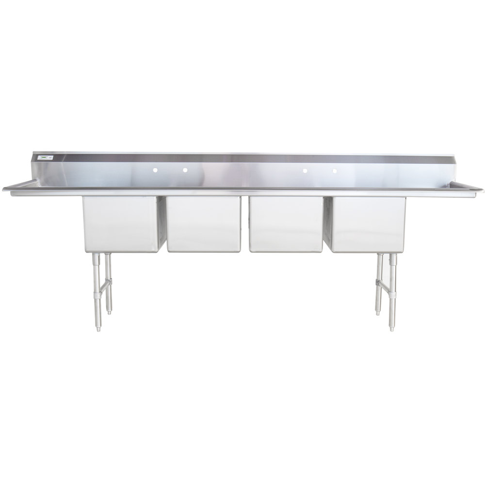 Regency 16 Gauge Stainless Steel Four Compartment Commercial Sink with Two Drainboards - 18 inch x 18 inch x 14 inch Bowls