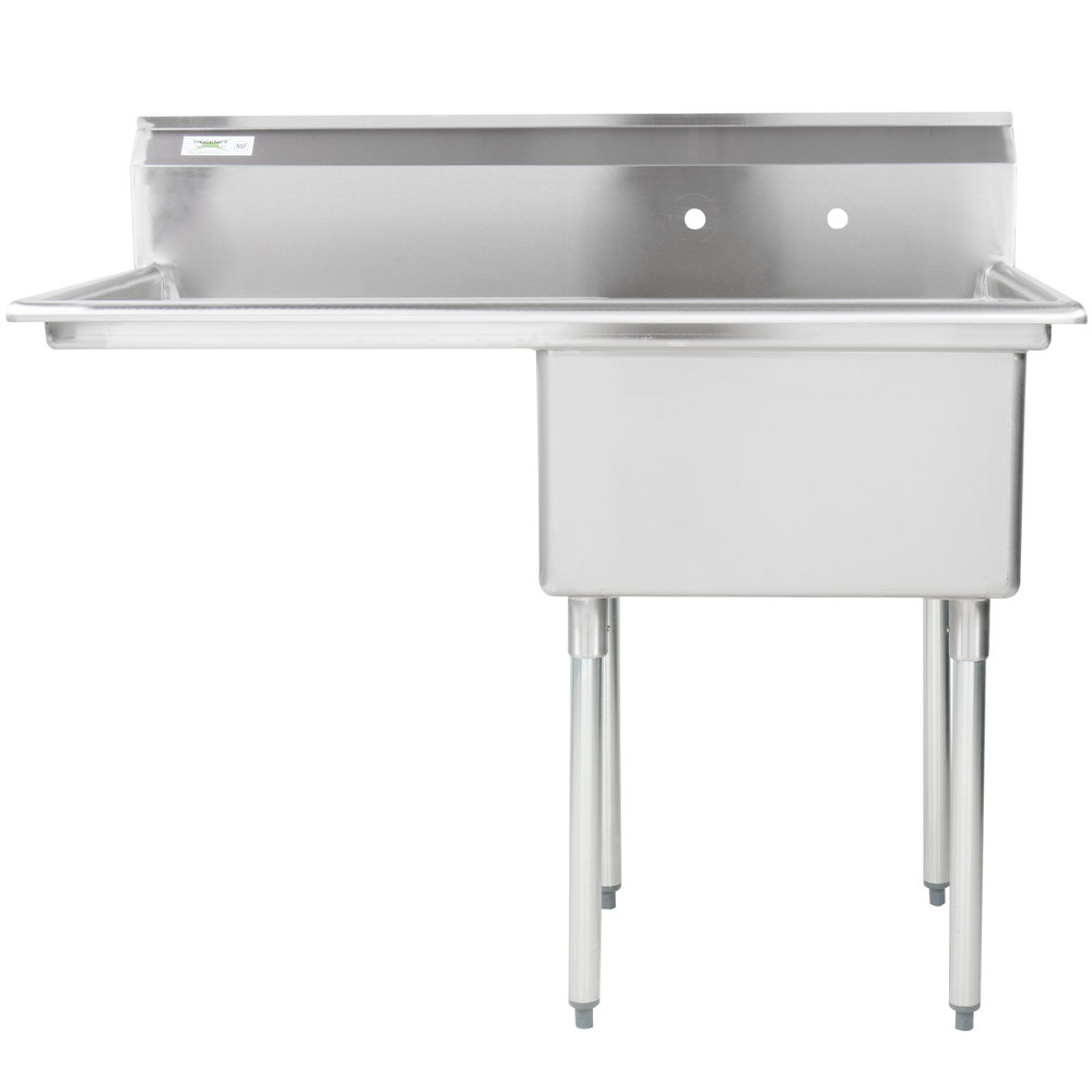 Left Drainboard Regency 16 Gauge Stainless Steel One Compartment Commercial Sink with 1 Drainboard - 23 inch x 23 inch x 12 inch Bowl