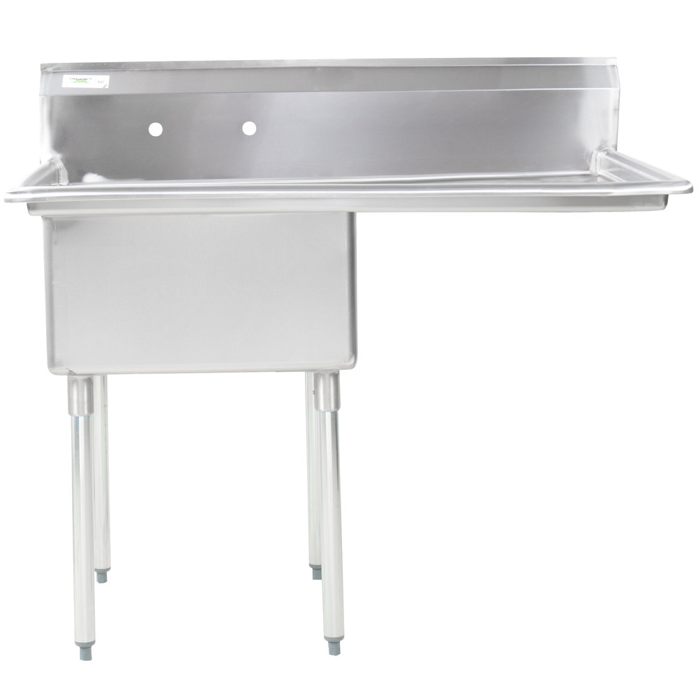 Right Drainboard Regency 16 Gauge Stainless Steel One Compartment Commercial Sink with 1 Drainboard - 23 inch x 23 inch x 12 inch Bowl
