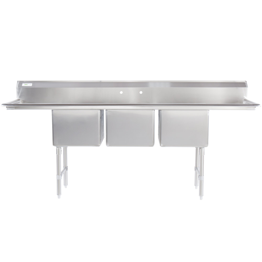 Regency 16 Gauge Stainless Steel Three Compartment Commercial Sink with Two Drainboards - 18 inch x 18 inch x 14 inch Bowls