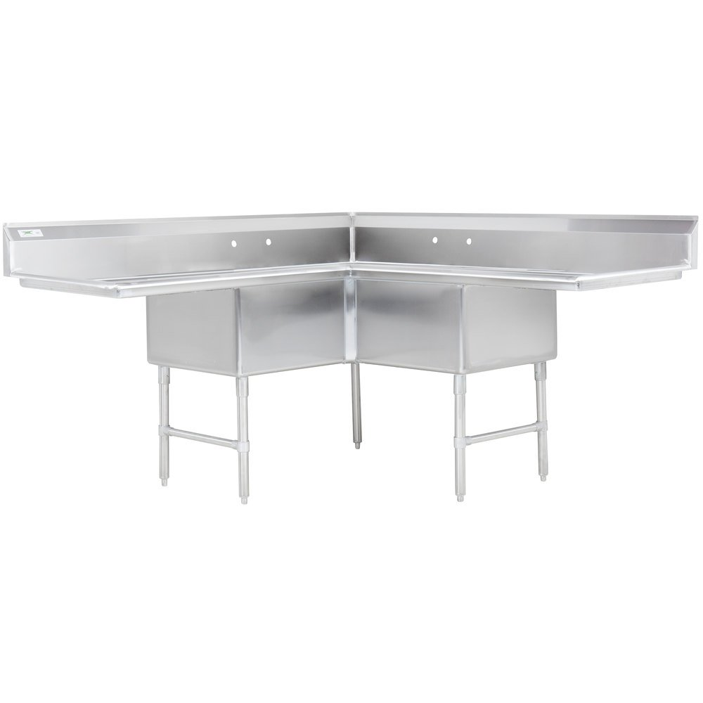 Regency 74 1/2 Inch 16 Gauge Stainless Steel Three Compartment Commercial  Corner Sink With ...