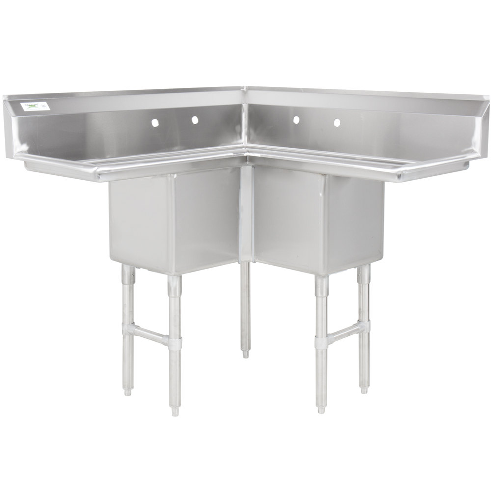 Regency 44 1/2 Inch 16 Gauge Stainless Steel Three Compartment Commercial  Corner Sink With ...