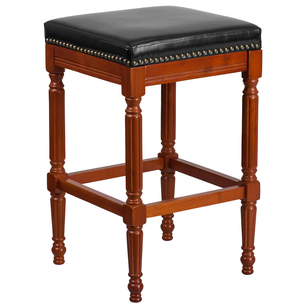 flash furniture ta 4102a 30 lc gg light cherry wood bar height stool with black leather seat. Black Bedroom Furniture Sets. Home Design Ideas