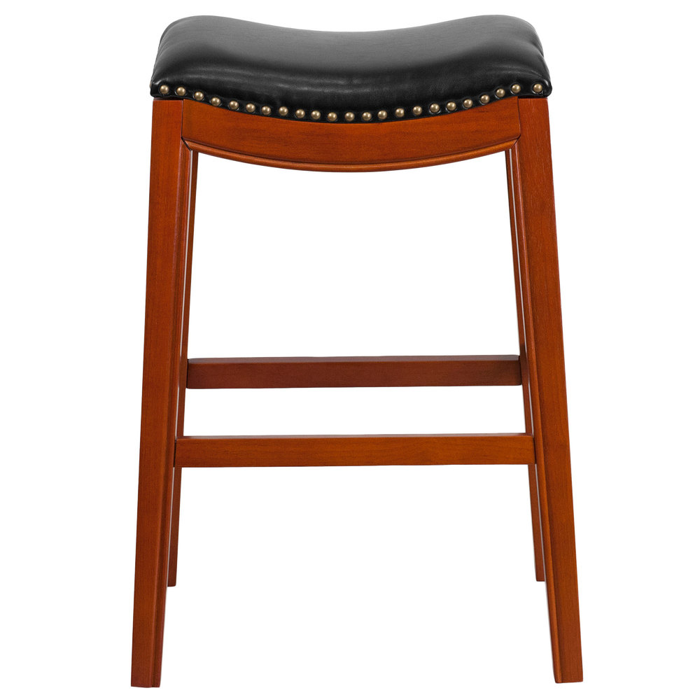 flash furniture ta 411030 lc gg light cherry wood bar height stool with black leather saddle seat. Black Bedroom Furniture Sets. Home Design Ideas