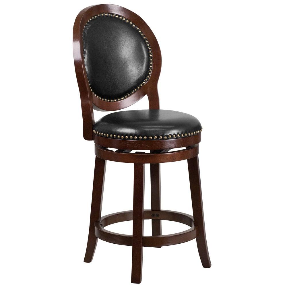 Wooden Revolving Stool Light Brown Swivel Bar Pub Chair: Flash Furniture TA-550126-CA-GG Cappuccino Wood Counter