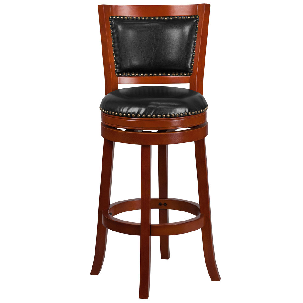 flash furniture ta 355530 lc gg light cherry wood bar height panel back stool with black leather. Black Bedroom Furniture Sets. Home Design Ideas