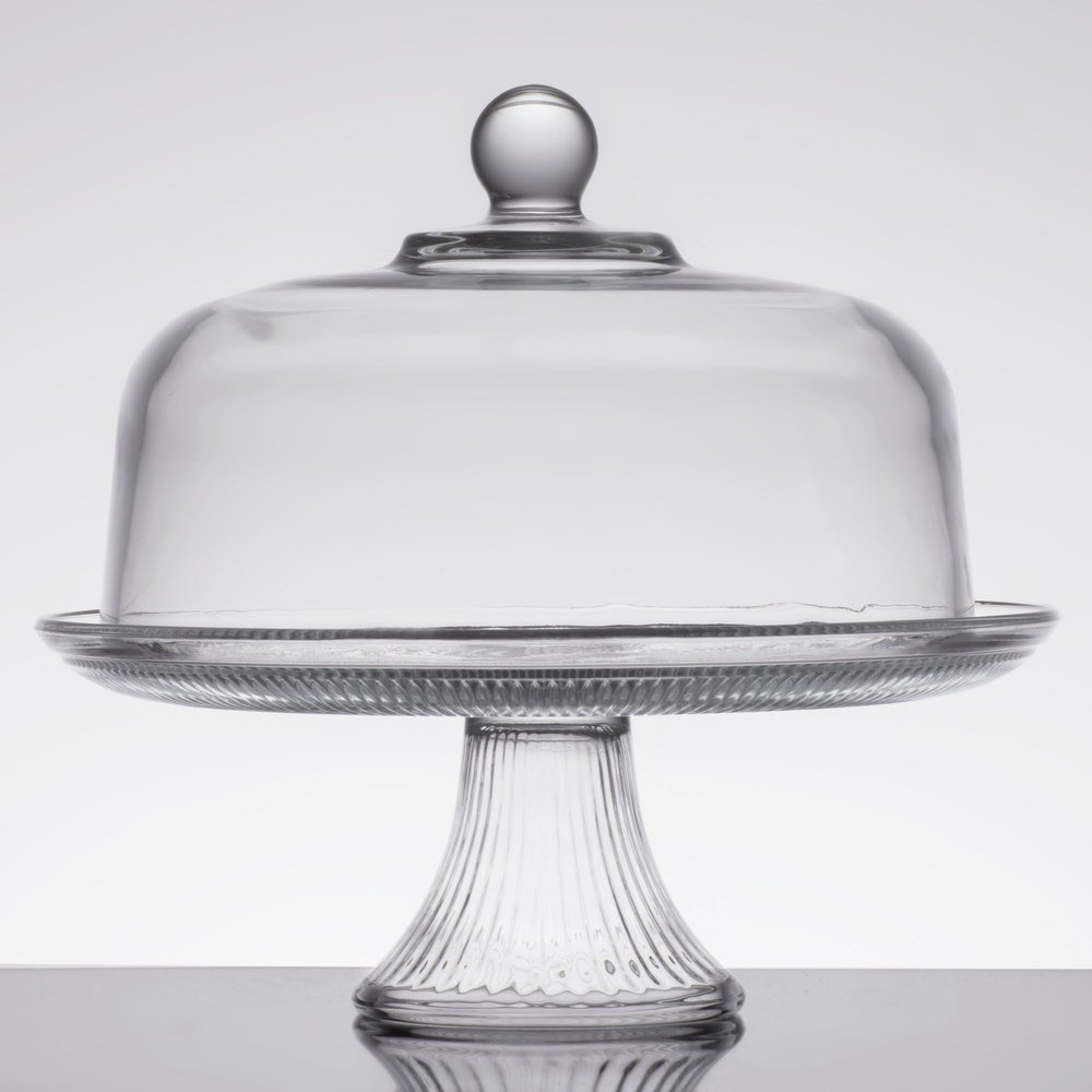 Anchor Hocking 86475L13 Canton 12 inch Glass Cake Stand / Punch Bowl Set ... & Cake Stand With Dome Lid - WebstaurantStore