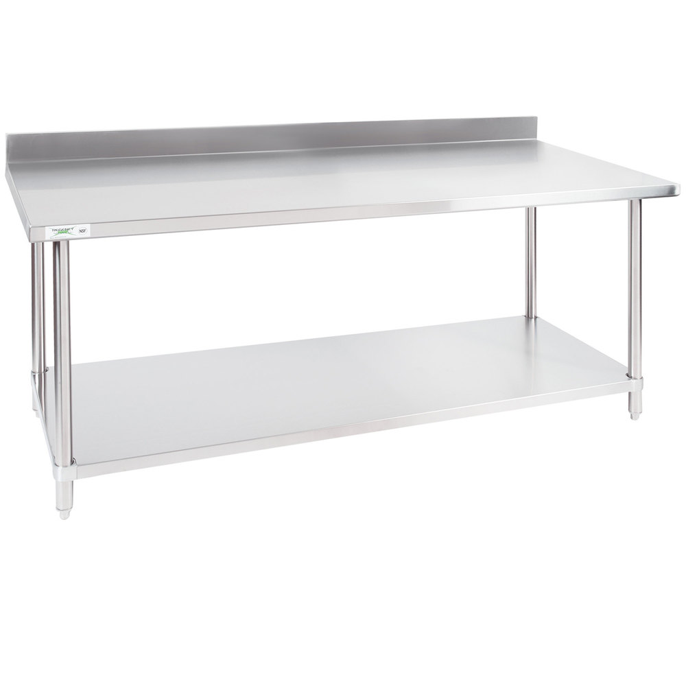 Regency 30 inch x 72 inch 16-Gauge Stainless Steel Commercial Work Table with 4 inch Backsplash and Undershelf