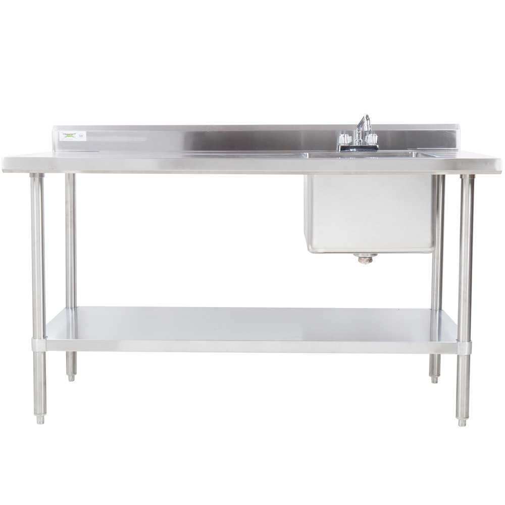Sink on Right Regency 30 inch x 72 inch 16 Gauge Stainless Steel Work Table with Sink