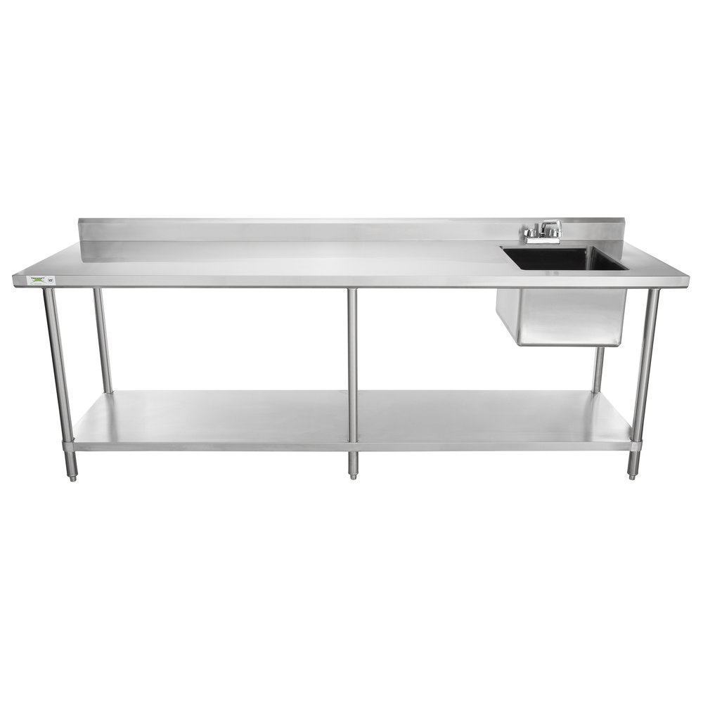 Sink on Right Regency 30 inch x 96 inch 16 Gauge Stainless Steel Work Table with Sink